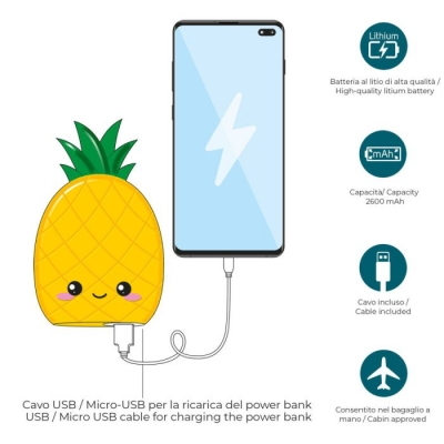 Power Bank 2600mAh Ανανάς